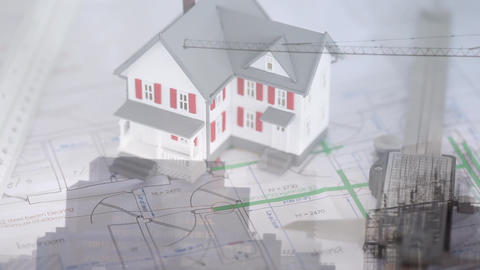 3D house model with a construction crane Animation
