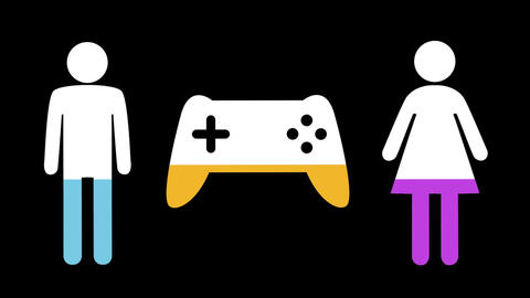 Male, female and game controller shapes filling up with colours 4k Animation