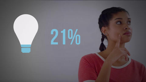 Woman next to light bulb shape and numbers filling up with colour 4k Animation