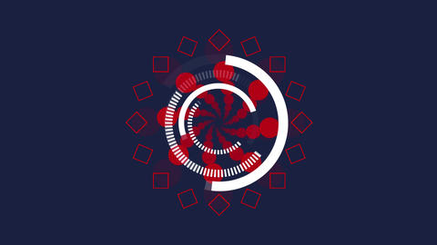 Rotating white rings and red shapes on dark grey background Animation
