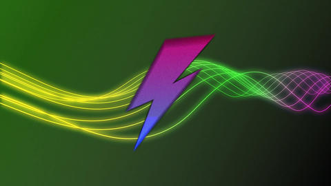 Colourful lightning flashes and wavy lines on a dark green background Animation