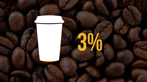 Coffee cup and numbers filling up with colour 4k Animation