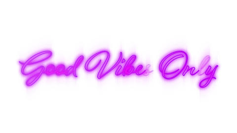 Good vibes only graphic in pink neon on white background Animation