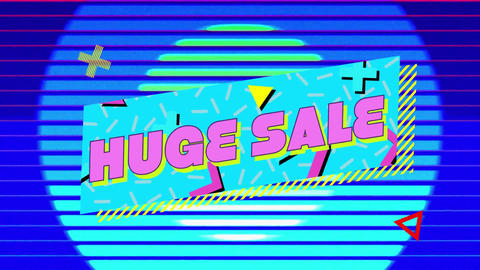 Huge sale graphic in blue banner with moving colourful circles and purple background Animation