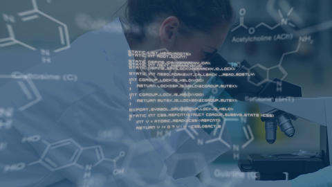 Woman using microscope and checking test tube in lab with white text and data in foreground Animation
