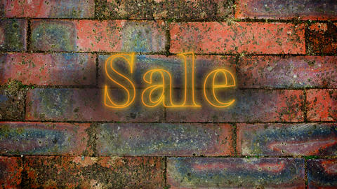 Yellow neon sale sign on brick wall Animation