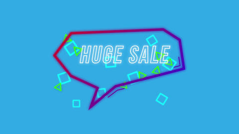 Huge sale graphic in purple speech bubble on blue Animation