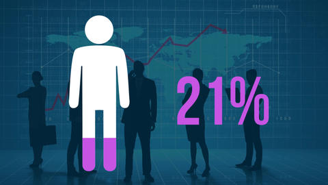 Person and rising percentage filling in pink with silhouetted people and world map Animation