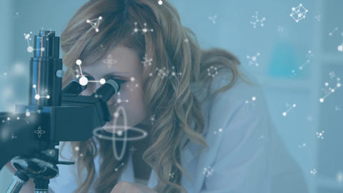 Female scientist using microscope with floating molecules Animation