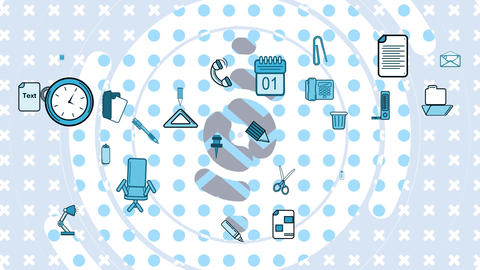 Moving white grey and blue shapes and office objects Animation