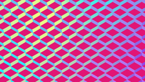 Colourful diamond shaped mesh on pink Animation