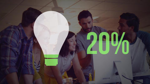 Group of young office workers and light bulb shape and numbers filling up with colour 4k Animation