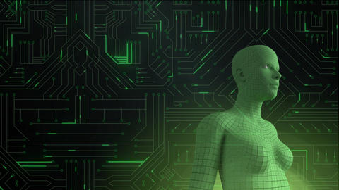Female android form in front of glowing computer circuit board Animation
