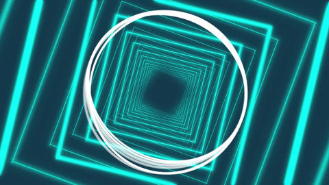 Blue glowing diamond outlines and spinning white rings on dark blue Animation