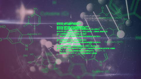 Pulsating grey shapes and moving DNA with green text and data on a dark background Animation