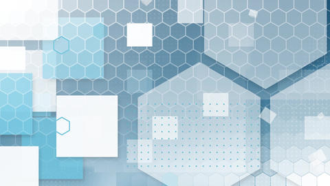 Blue and white hexagons and squares on blue Animation
