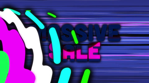 Massive sale graphic with colourful swirls against moving horizontal purple lines Animation