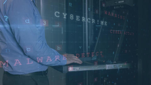 Man working in a server room while danger messages move and flash in the foreground Animation
