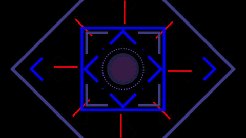 Coloured lines and shapes moving on black background Animation