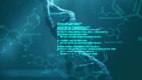 DNA and blue data moving on blue background Animation
