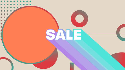Sale graphic with colourful trails on grey background with orange shapes Animation