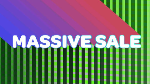 Massive sale graphic on moving green vertical lines Animation
