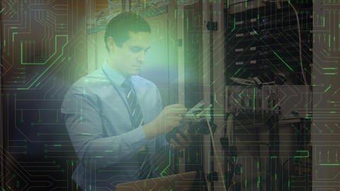 Man working in server room and glowing circuit board Animation