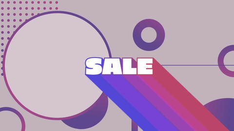 Sale graphic with colourful trails on grey background with purple shapes Animation