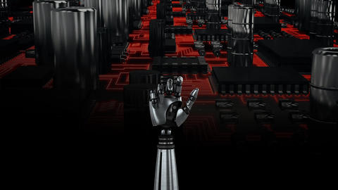 Robot hand and circuit board Animation