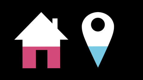 House and location pin shapes filling up with colours 4k Animation