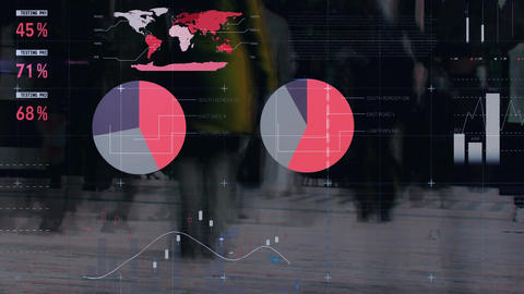 People walking in fast pace with financial data in the foreground Animation