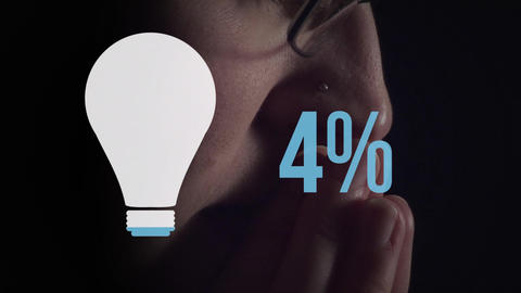 Man next to light bulb shape and numbers filling up with colour Animation