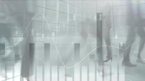 Walking people with financial data in the background Animation