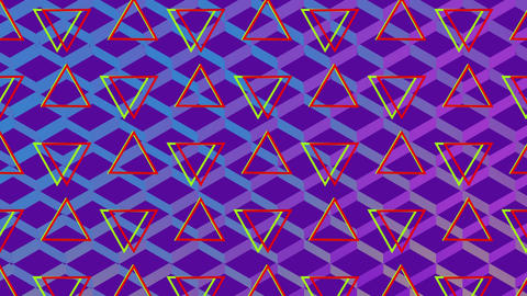 Turning traingles and colourful mesh on purple background Animation