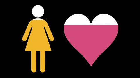 Female and heart shapes filling up with colours 4k Stock Video Footage
