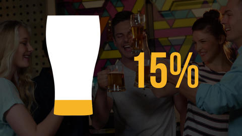 Pint glass and percentage filling yellow and people drinking beer Animation