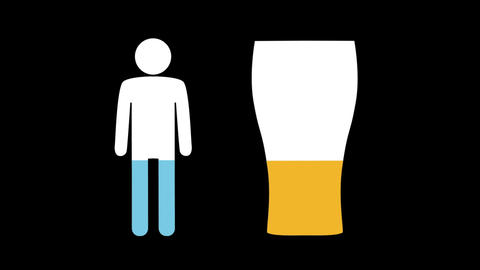 Male and pint glass shapes filling up with colours 4k Animation