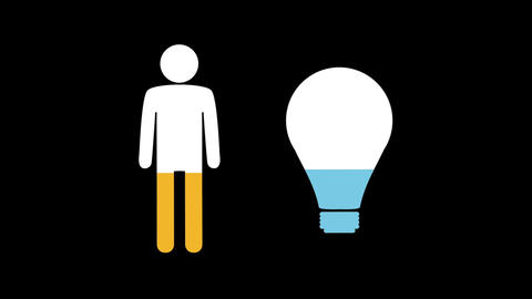 Male and light bulb shapes filling up with colours 4k Animation