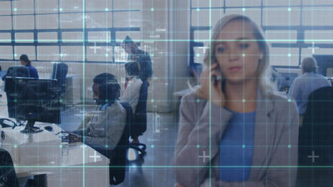 Woman working in an office with grid moving in the foreground Animation