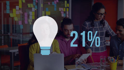 Young office workers with light bulb shape and numbers filling up with colour 4k Animation