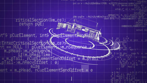 Blueprint of a house on digital circles and program codes Animation