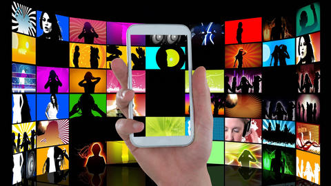 Hand holding a mobile phone and videos on LCDs Animation