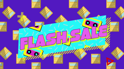 Flash sale graphic on blue banner with audio cassettes on purple background and calculators 4k Animation