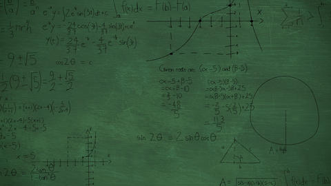Mathmatical calculations in black on a green chalkboard background 4k Animation