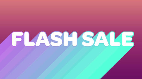 Flash sale graphic with colourful trails on dark pink background 4k Animation
