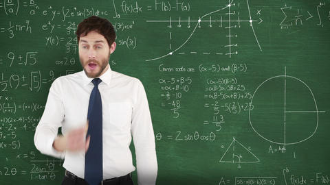 Frustrated man in front of moving maths on blackboard 4k Animation