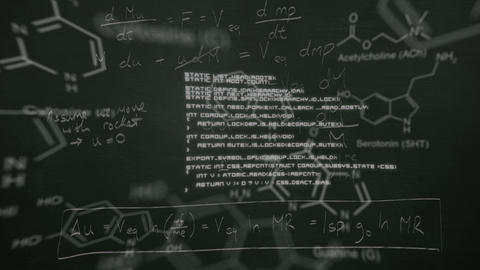 Scientific data written in chalk moving on a blackboard Animation