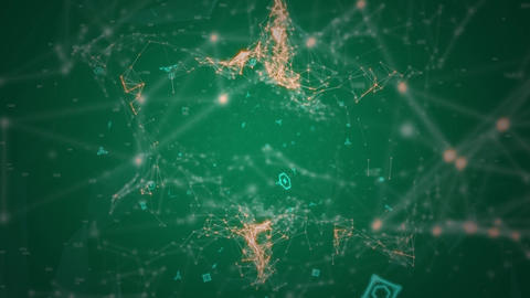 Connecting points in green and orange moving on dark green background Animation