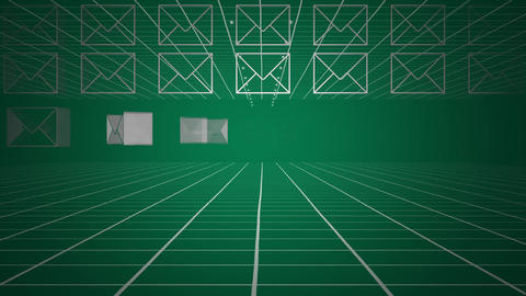 Envelope icons and moving grid on green background Animation