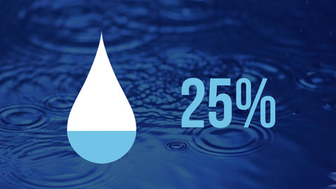 Droplet icon and increasing percent in blue with moving rings on the surface of blue water Animation